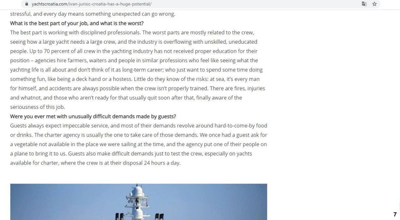 Интервью с Иваном Юришичем (Ivan Jurišić), капитаном мегаяхты олигарха Виктора Рашникова Ocean Victory